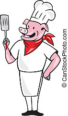 Pig Chef Cook Holding Spatula Cartoon - Illustration of a...