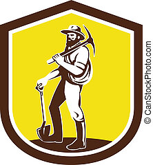 Coal Miner Carry Pick Axe Shoulder Retro - Illustration of a...
