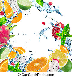 Fruit with water splash - Fresh fruit with water splash over...