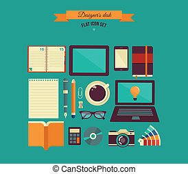 Designer's desktop, set of flat icons - desktop with open...