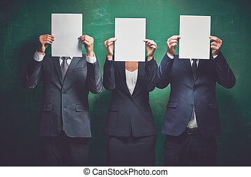 Business advert - Elegant business partners holding blank...