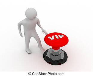 3d man with vip (very inportant person) button