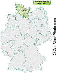 Map of Schleswig-Holstein with main cities in pastel green