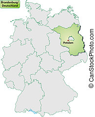 Map of Brandenburg with main cities in pastel green