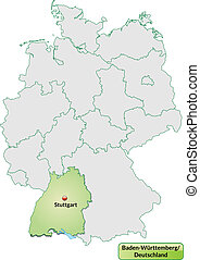 Map of Baden-Wuerttemberg with main cities in pastel green