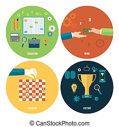 Icons for education, work, strategy, victory - Icons for...