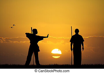 martial art at sunset - illustration of martial art at...