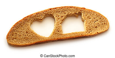 Slice of bread in house and heart form