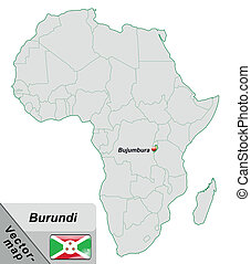 Map of burundi with main cities in pastel green