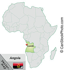 Map of angola with main cities in pastel green