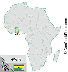Map of Ghana with main cities in pastel green