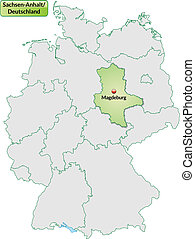 Map of Saxony-Anhalt with main cities in pastel green