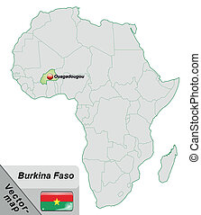 Map of Burkina Faso with main cities in pastel green