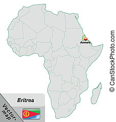 Map of eritrea with main cities in pastel green