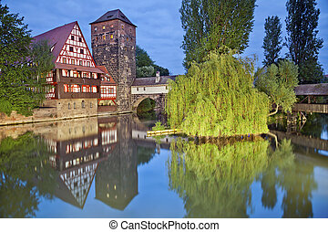 Nuremberg, Germany - Image of famous Executioners bridge at...
