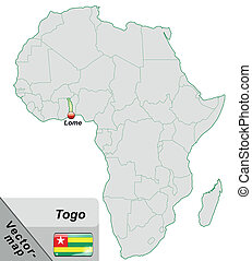 Map of togo with main cities in pastel green
