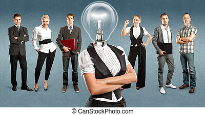 Business Team With Lamp Head - Idea concept Lamp Head and...