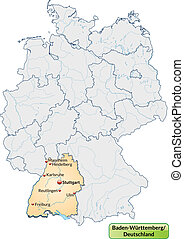 Map of Baden-Wuerttemberg with main cities in pastel orange
