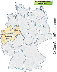 Map of North Rhine-Westphalia with main cities in pastel...