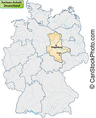 Map of Saxony-Anhalt with main cities in pastel orange