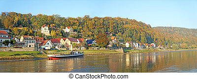 Autumn in the Elbe Sandstone Mountains in Germany - Idyllic...