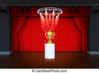 trophy on theater stage red curtains and spotlights
