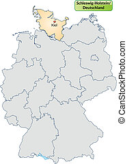 Map of Schleswig-Holstein with main cities in pastel orange
