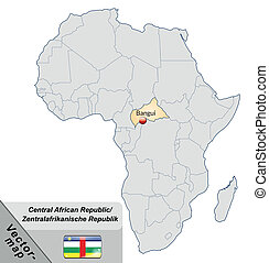 Map of Central African Republic with main cities in pastel...