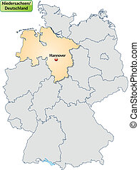 Map of Lower Saxony with main cities in pastel orange