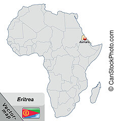 Map of eritrea with main cities in pastel orange