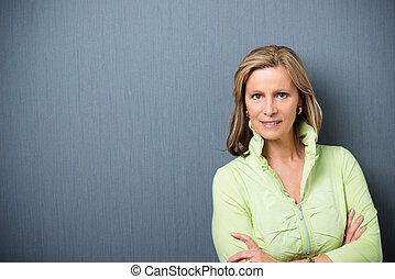 Attractive stylish middle-aged woman with shoulder length...