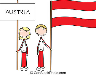 Austrian flag - Illustration of a girl and boy holding...