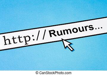 online rumours - Computer Screen, concept of online rumours