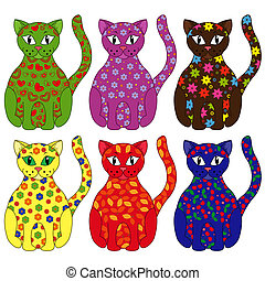 Set of six stylized cats painted by various floral and...