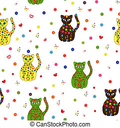 Seamless vector illustration with different stylized cats -...