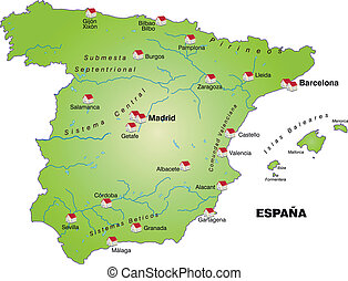 Map of Spain as an infographic in green