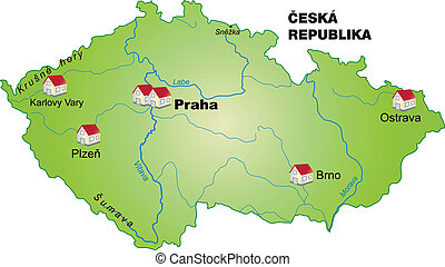 Map of Czech Republic as an infographic in green