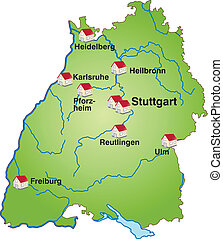 Map of Baden-Wuerttemberg as an infographic in green