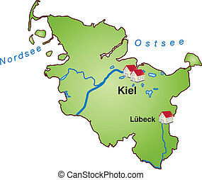 Map of Schleswig-Holstein as an infographic in green