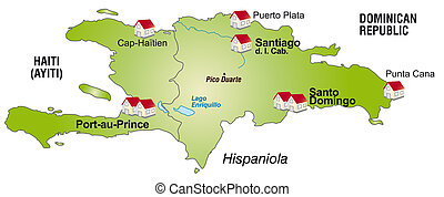 Map of hispaniola as an infographic in green