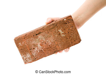 Red Brick with white background