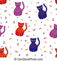 Seamless vector illustration with various stylized cats -...