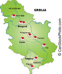 Map of Serbia as an infographic in green