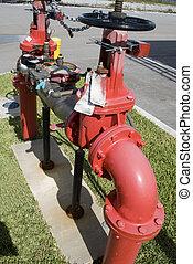Industrial, fogo, hidrante