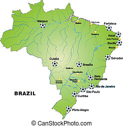 Map of Brazil with football stadiums in green