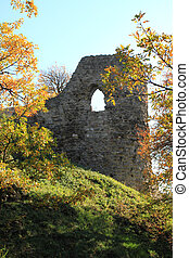 Castle ruin - A castle ruin on the hill in autumn