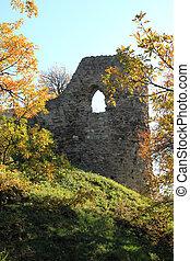 Castle ruin - A castle ruin on the hill in autumn