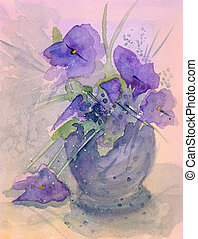 Violets watercolor painting abstract Original watercolor...
