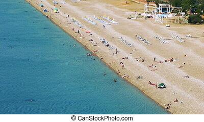 Timelapse of people activity on Konyaalti beach in Antalya, Turkey