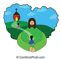 Going to church - Vector illustrations of happy children...